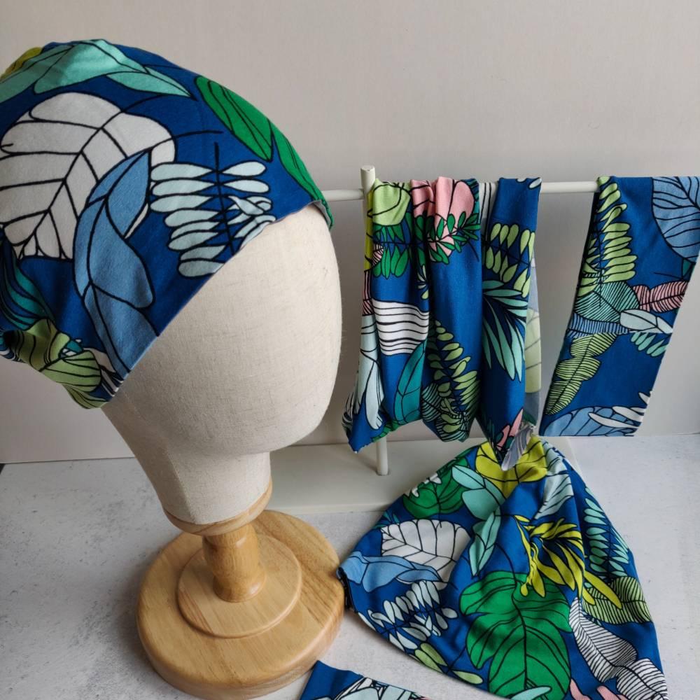 Mütze, Loop und Stirnband bunte Blätter Bild 1