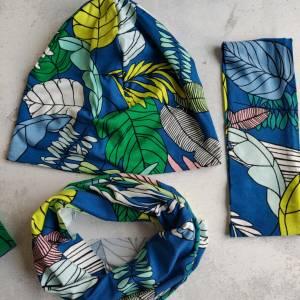 Mütze, Loop und Stirnband bunte Blätter Bild 3