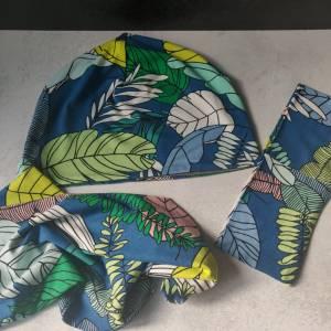 Mütze, Loop und Stirnband bunte Blätter Bild 4