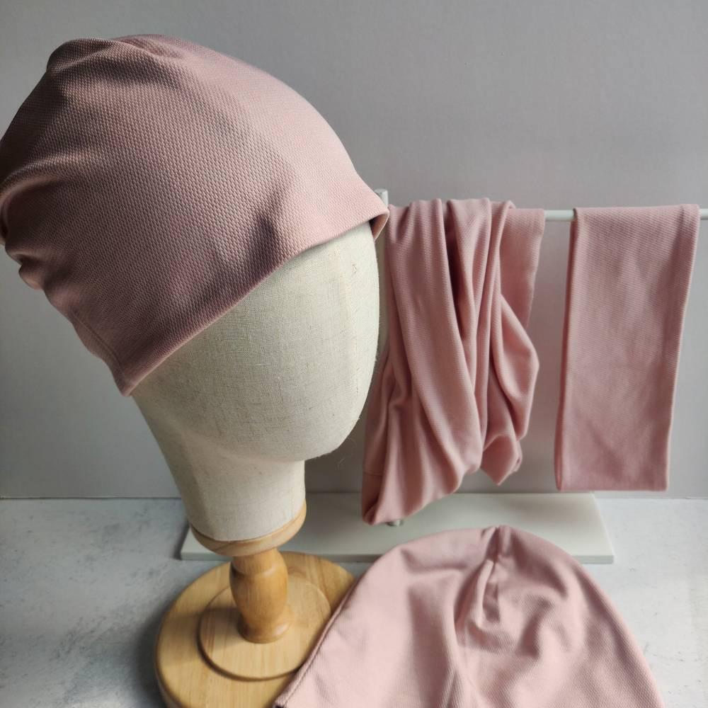 Mütze, Loop und Stirnband in zartem rosa Bild 1