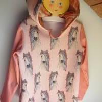 Romantische Pferde Baby Hoody Sweatshirt in Öko Baumwolle  Größe 122,  Schlupf Hoodie Pastelfarben. Bild 1
