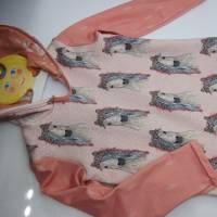 Romantische Pferde Baby Hoody Sweatshirt in Öko Baumwolle  Größe 122,  Schlupf Hoodie Pastelfarben. Bild 3
