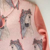 Romantische Pferde Baby Hoody Sweatshirt in Öko Baumwolle  Größe 122,  Schlupf Hoodie Pastelfarben. Bild 4