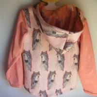 Romantische Pferde Baby Hoody Sweatshirt in Öko Baumwolle  Größe 122,  Schlupf Hoodie Pastelfarben. Bild 5
