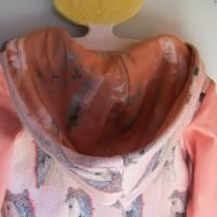 Romantische Pferde Baby Hoody Sweatshirt in Öko Baumwolle  Größe 122,  Schlupf Hoodie Pastelfarben. Bild 6