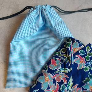 Mütze, Loop und Stirnband in blau mit Blumen Bild 7