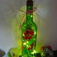 Leuchtflasche, Flaschenlicht, MOHNWIESE II, mit LED-Lichterkette, Tisch - Deko, Jahreszeiten - Deko, Bottlelight Bild 1