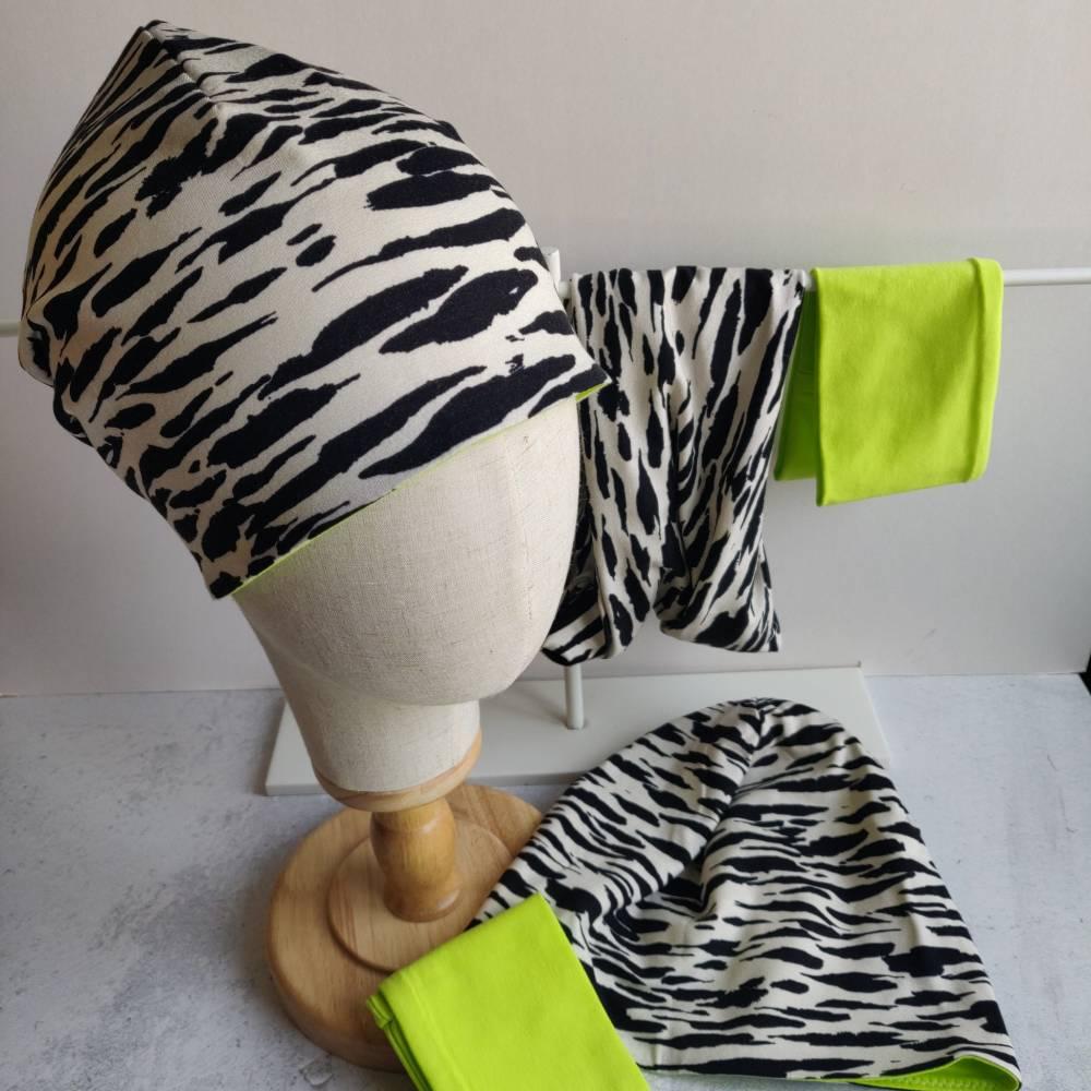 Mütze, Loop und Stirnband im Zebra Look Bild 1