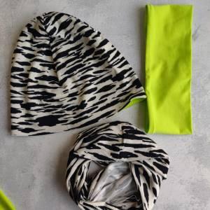 Mütze, Loop und Stirnband im Zebra Look Bild 5