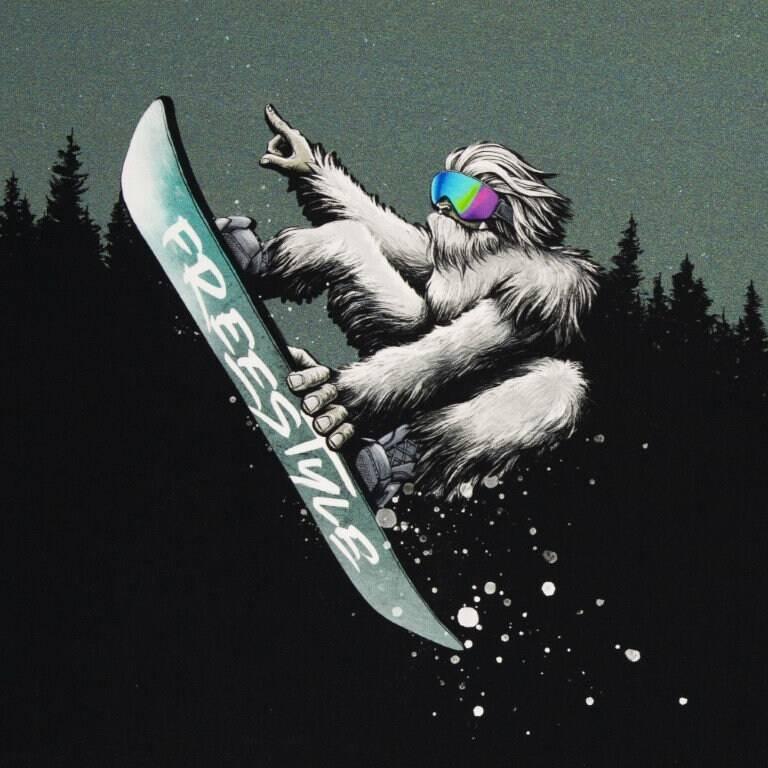"18,63EUR/m French Terry Panel ""Yeti Crossing"" mit Wald by Thorsten Berger Bild 1"
