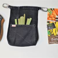 Hüfttasche für die Gartenschere aus Jeans mit extra Täschchen für Anbindedrähte  Bild 2
