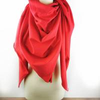 Großes, kuschliges Dreiecktuch / Schultertuch in Rot aus Sweatstoff  Bild 1