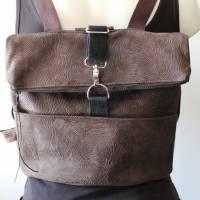 kleiner Rucksack/ Backpack/ Foldover/ Leder/ Unikat Bild 1