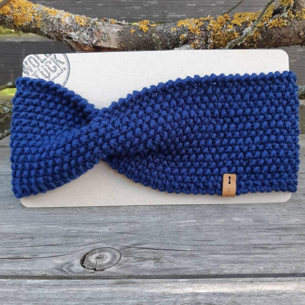 Stirnband mit Twist handgestrickt - Wolle (Merino) - marineblau Bild 1