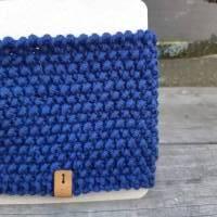 Stirnband mit Twist handgestrickt - Wolle (Merino) - marineblau Bild 3