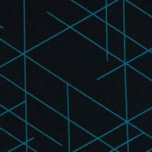 17,90EUR/m French Terry Streetstyle Linien in schwarz/türkis by Lycklig Design Bild 3