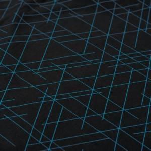 17,90EUR/m French Terry Streetstyle Linien in schwarz/türkis by Lycklig Design Bild 6
