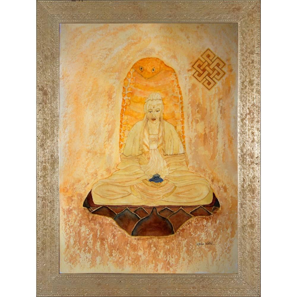 Meditierender Buddha - Original Aquarellmalerei, gerahmtes Unikat Bild 1