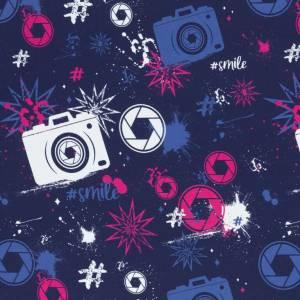 17,90EUR/m French Terry Streetstyle Kamera in blau/pink by Lycklig Design Bild 1