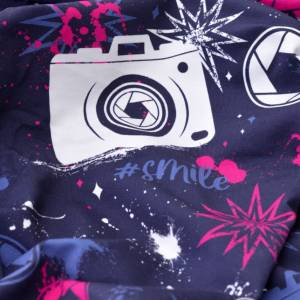 17,90EUR/m French Terry Streetstyle Kamera in blau/pink by Lycklig Design Bild 2