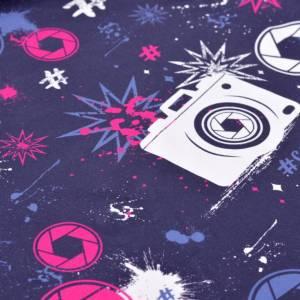 17,90EUR/m French Terry Streetstyle Kamera in blau/pink by Lycklig Design Bild 3