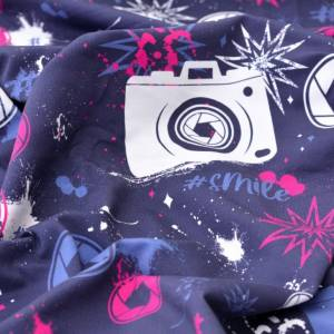 17,90EUR/m French Terry Streetstyle Kamera in blau/pink by Lycklig Design Bild 5