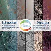 Digi-Papier Spinnweben, Halloween-Papier für Plotter, Schneidedatei Spinnennetz, 36 mal digitales Papier für Halloween Bild 1