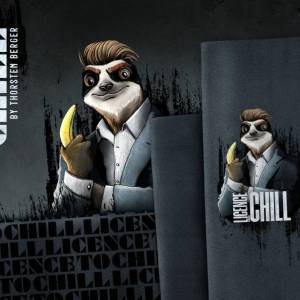 """18,62EUR/m French Terry Panel """"Licence to Chill"""" by Thorsten Berger  Faultier Bild 3"""