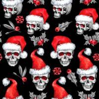 Weihnachststoffe French Terry Sweat Totenkopf mit Nikolausmütze Skulls Weihnachtstotenköpfe Totenköpfe rot weiß schwarz Bild 1