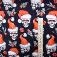 Weihnachststoffe French Terry Sweat Totenkopf mit Nikolausmütze Skulls Weihnachtstotenköpfe Totenköpfe rot weiß schwarz Bild 2