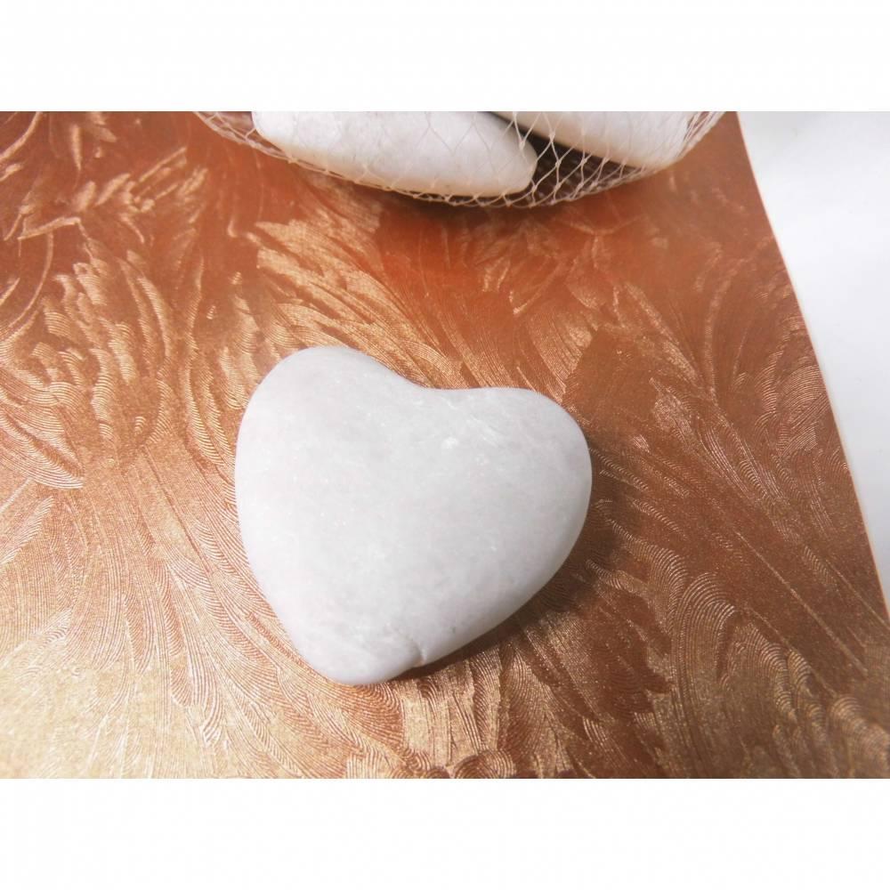 12 St. Herz aus Marmor in weiß - als Tischkarte , Hochzeitsdeko ....  Herz zum basteln oder dekorieren Bild 1
