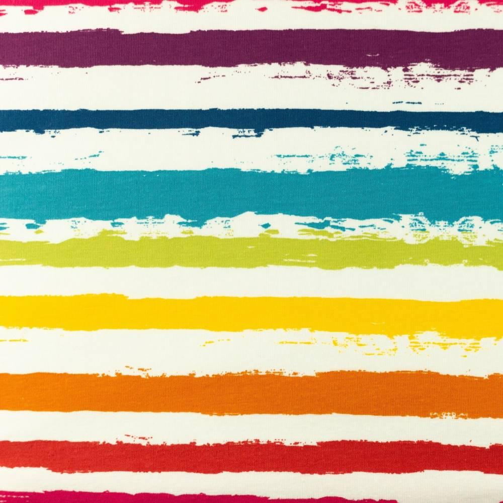 12,90EUR/m Jersey unregelmäßige Streifen Regenbogen Bild 1