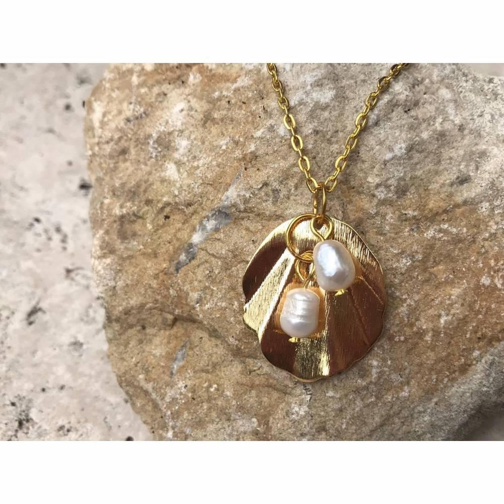 Kette Halskette Sommer Perlen Zuchtperlen Süßwasserzuchtperlen Bild 1