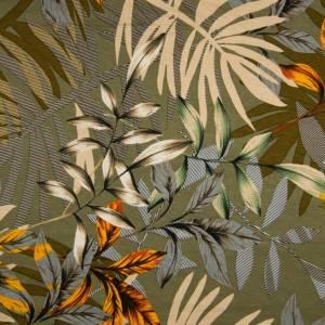 12,50EUR/m Viskosejersey Blätterdesign auf khaki Bild 1