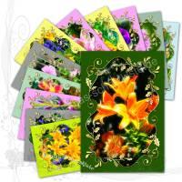 Digitales Kartenset, *Garden017-Set 1a*, DIY Grafik-Vorlagen für 12 Karten auf Fotopapier 10x15 cm Bild 1
