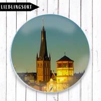 Schlossturm und Sankt Lambertus am Rhein Magnet  Bild 1