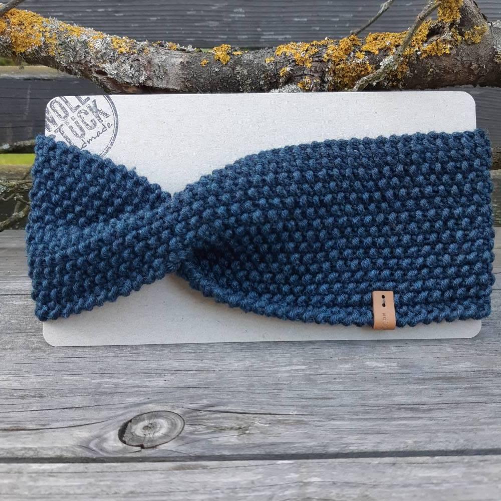 Stirnband mit Twist handgestrickt - Wolle (Merino) - stahlblau Bild 1