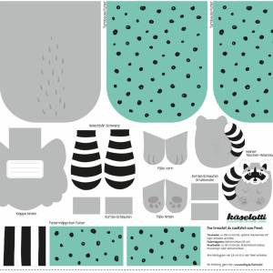 13,50EUR/Stück Webware/Canvas Panel Tierbeutel by Käselotti - WASCHBÄR Bild 3