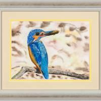 Eisvogel - Original Aquarellmalerei, gerahmtes Unikat Bild 1