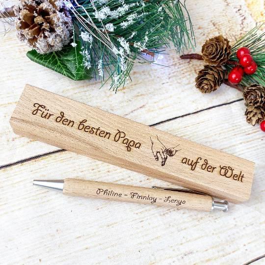 Personalisierter Kugelschreiber mit einer gravierten Holzbox, Weihnachtsgeschenk für den besten Papa (oder auch Mama) Bild 1