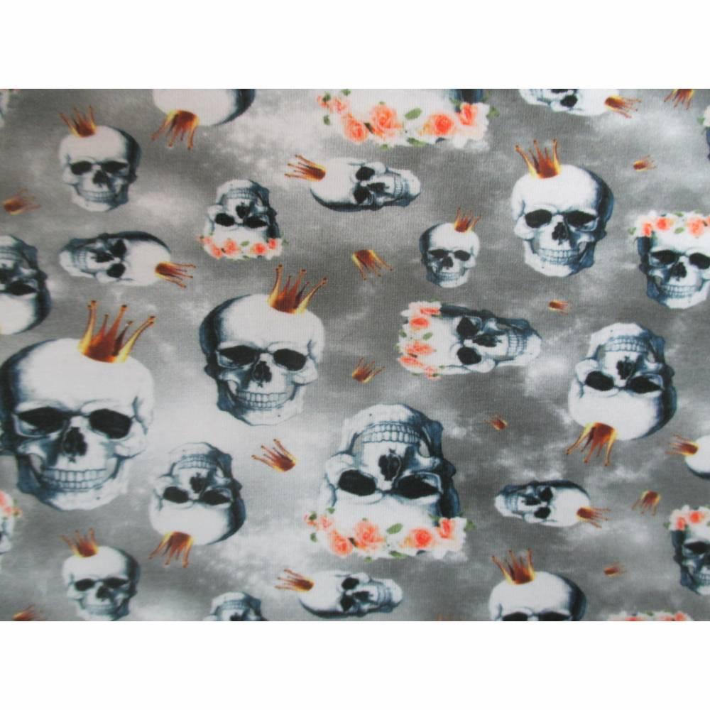 Jersey  Baumwoll - Jersey  Skulls Totenkopf mit Krone  Oeko-Tex Standard 100(1m/15,-€) Bild 1