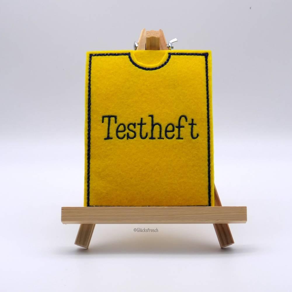 Filzhülle für Testheft für Schüler (Coronatestheft), gelb Bild 1