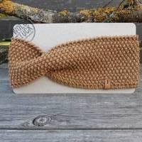 Stirnband mit Twist handgestrickt - Wolle (Merino) - camel Bild 1