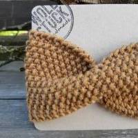 Stirnband mit Twist handgestrickt - Wolle (Merino) - camel Bild 2