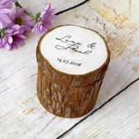 Hochzeit Ringkissen aus Holz mit Wunschgravur auf dem Deckel Bild 4