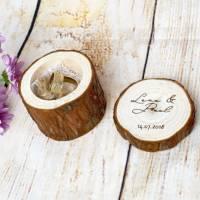 Hochzeit Ringkissen aus Holz mit Wunschgravur auf dem Deckel Bild 5