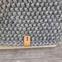 Stirnband mit Twist handgestrickt - Wolle (Merino) - grau meliert Bild 3