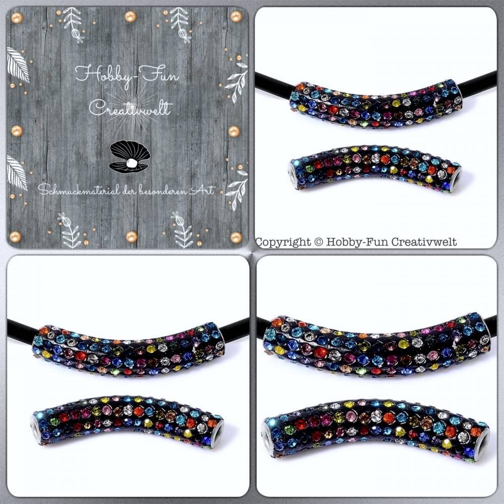 HFC25799-FiP: Polymerton-Perle mit Strass-Chatons handgesetzt Bild 1