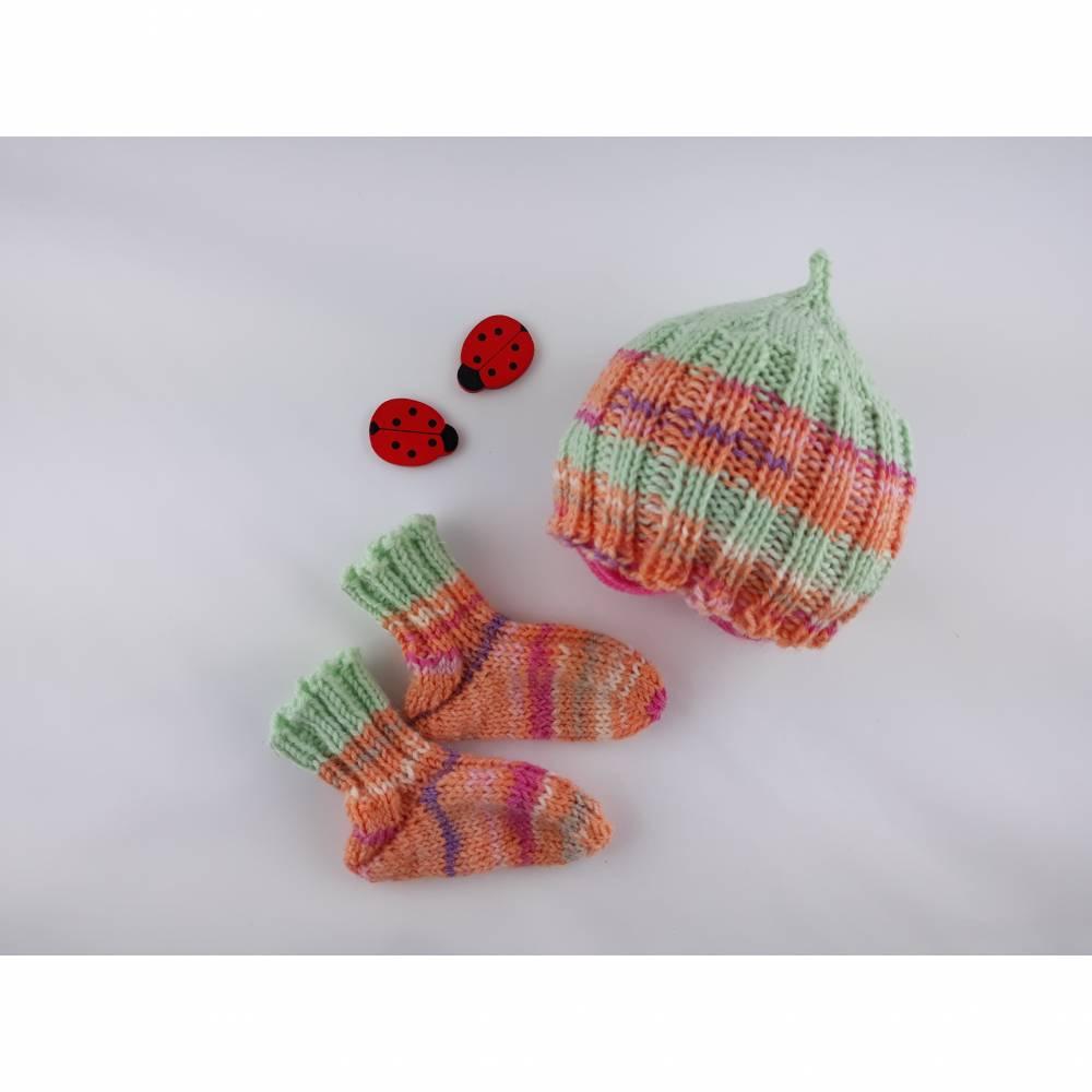 Frühchen, Babysocken, Set aus Mütze und Socken für Frühgeborene Babys Bild 1
