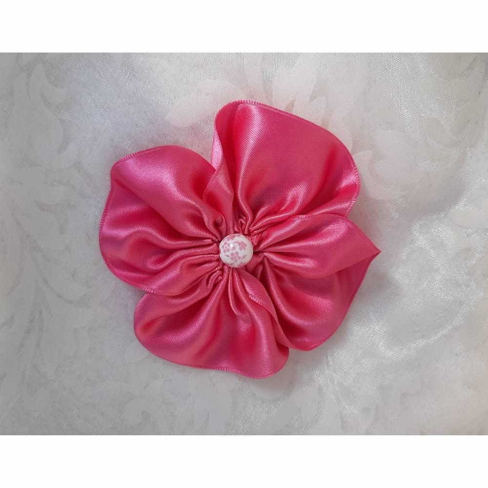 """Haarklammer Pink Satin Haarblüte """"Mimi"""" Hochzeit Brautschmuck Abschlussball Taufe  Bild 1"""